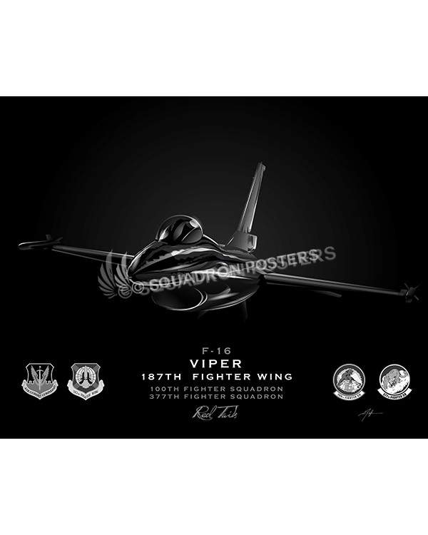 F-16 187th FW Jet Black Lithograph Jet Black F-16 Viper 100th Fighter SQ SP01257-FEAT-jet-black-aircraft-lithograph-art