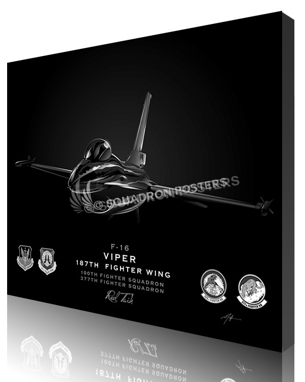 Jet Black F-16 Viper 100th Fighter SQ SP01257-featured-canvas-lithograph-art