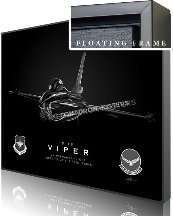 Jet Black F-16 Viper 54th Maintenance-SP01064-canvas-framed-aircraft-lithograph
