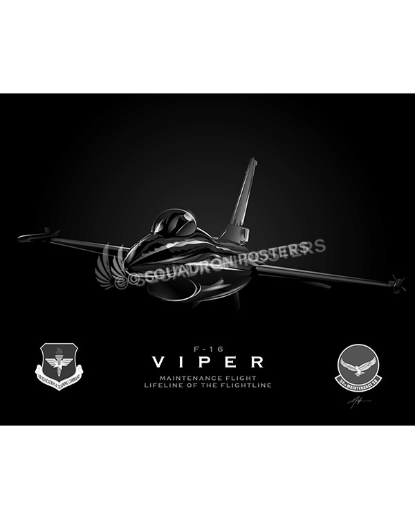 Jet Black F-16 Viper 54th Maintenance-SP01064-poster-aircraft-lithograph