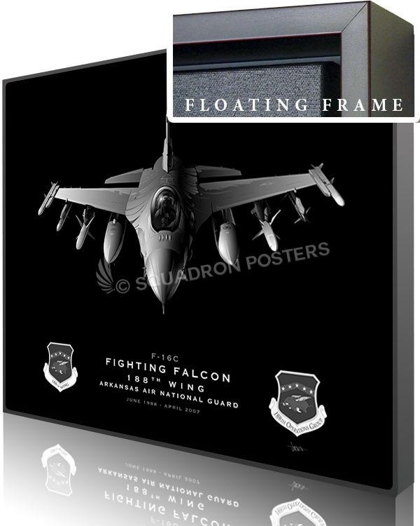Jet Black Ft Smith AR F-16C 188th Wing SP01387-featured-canvas-framed-aircraft-lithograph
