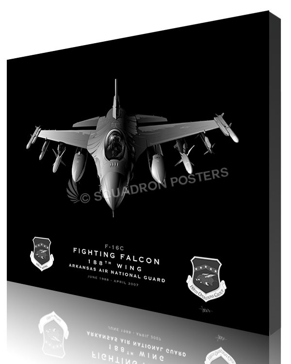 Jet Black Ft Smith AR F-16C 188th Wing SP01387-featured-canvas-lithograph