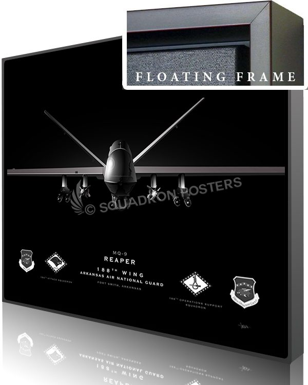 Jet Black Ft Smith AR MQ-9 188th Wing SP01389-featured-canvas-framed-aircraft-lithograph