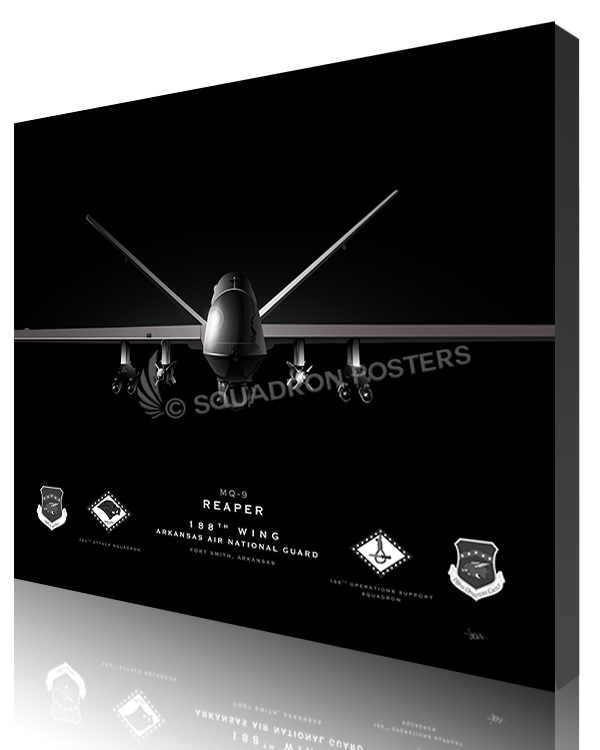 Jet Black Ft Smith AR MQ-9 188th Wing SP01389-featured-canvas-lithograph