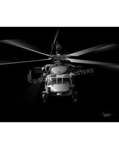 H-60 Jet Black Lithograph art poster print