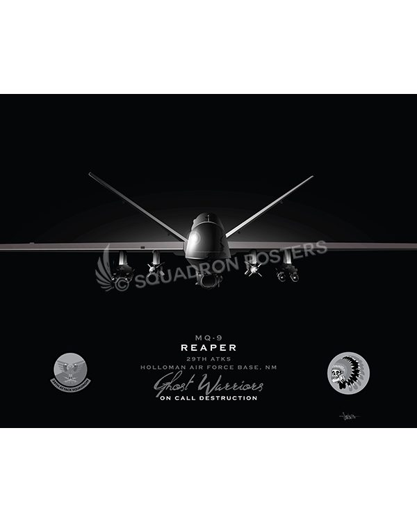 MQ-9 29th ATKS Jet Black Lithograph Jet Black Holloman AFB MQ-9 29th ATKS SP01462-FEAT-jet-black-aircraft-lithograph