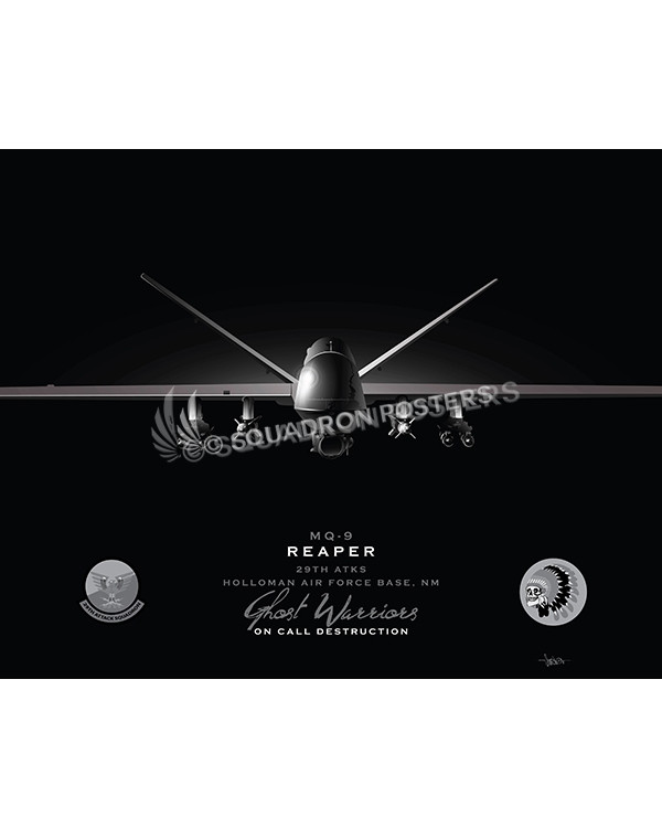 MQ-9 29th ATKS Jet Black Lithograph Jet Black Holloman AFB MQ-9 29th ATKS SP01462-FEAT-jet-black-aircraft-lithograph