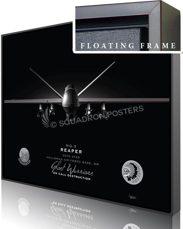 Jet Black Holloman AFB MQ-9 29th ATKS SP01462-featured-canvas-framed-aircraft-lithograph-art