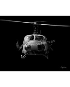 UH-1 Huey Jet Black Lithograph Jet Black Huey SP01242-featured-poster-aircraft-lithograph-art