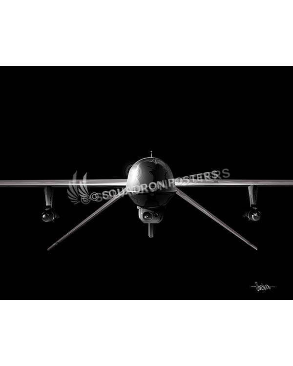 MQ-1 Predator Jet Black Lithograph art