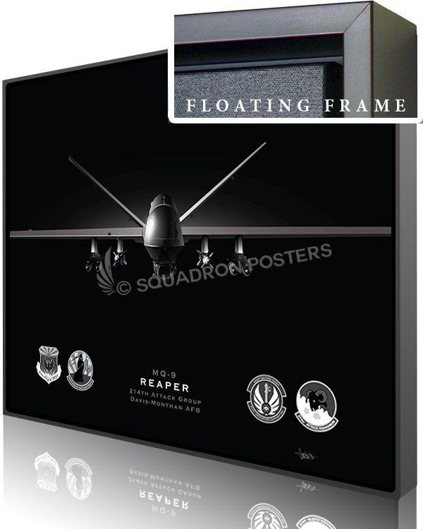 Jet Black MQ-9 214th ATKG modifyMS SP01558-featured-canvas-framed-aircraft-lithograph