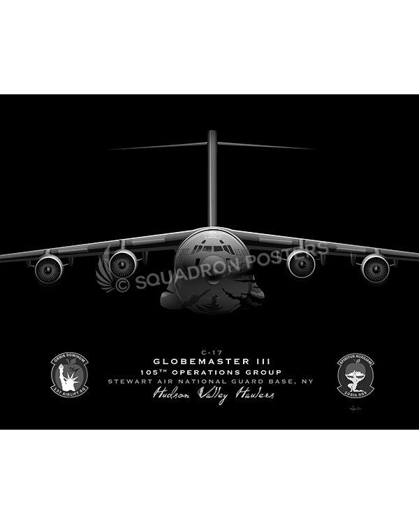 C-17 105th OG Jet Black Lithograph C-17 105th OG Jet Black LithographJet Black Stewart ANGB C-17 105th OG SP01393-FEAT-jet-black-aircraft-lithograph-art