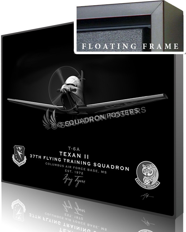 Jet Black T-6 Texan Columbus AFB 37th FTS-SP01087-featured-canvas-framed-aircraft-lithograph