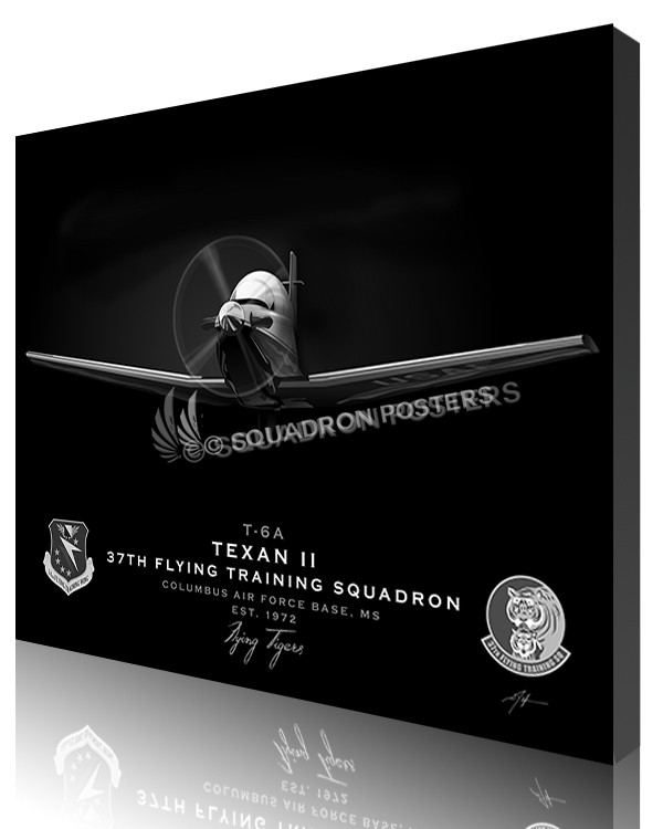 Jet Black T-6 Texan Columbus AFB 37th FTS-SP01087-featured-canvas-lithograph
