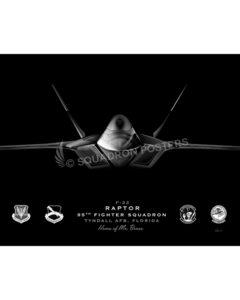 F-22, 95th FS Jet Black Lithograph Jet Black Tyndall AFB F-22 95th FS SP01395-FEAT-jet-black-aircraft-lithograph-art