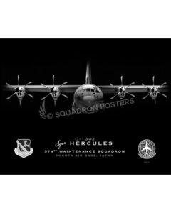 Jet Black Yokota AB C-130J 374th AMXS SP01525-FEAT-jet-black-aircraft-lithograph