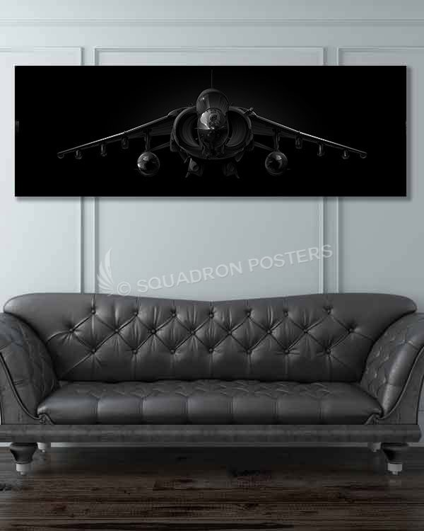 AV-8B Jet Black Super Wide Canvas Print Jet_Black_AV-8B_Harrier_60x20_SP01414-military-air-force-aviation-artwork-poster-jet-black-litho