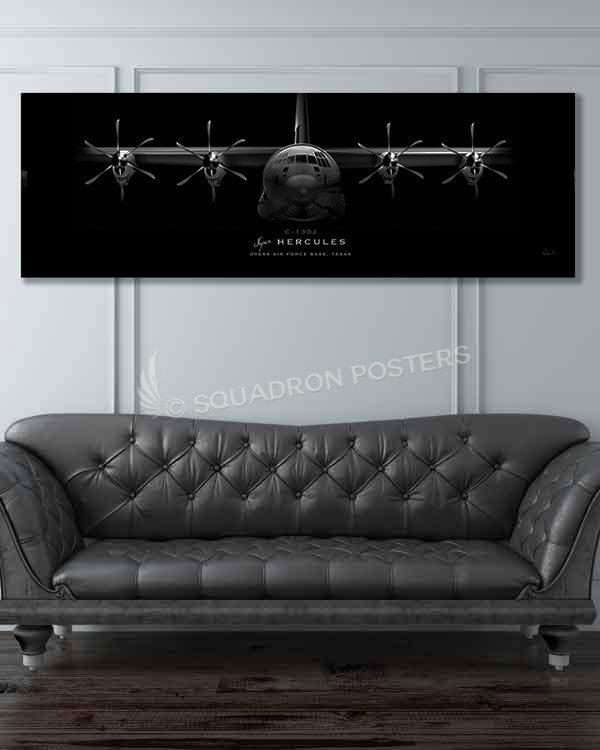 Dyess AFB C-130J Jet Black Super Wide Print Jet_Black_Dyess_AFB_C-130J_60x20_SP01325-military-air-force-aviation-artwork-poster-jet-black-litho-art