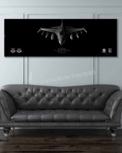 F-16 77 FS Jet Black Super Wide Canvas Print Jet_Black_F-16_77th_FS_60x20_SP01332-military-air-force-aviation-artwork-poster-jet-black-litho