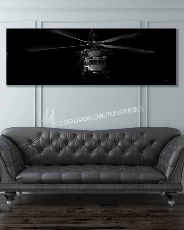 H-60 Jet Black Super Wide Canvas Print Jet_Black_H-60_60x20_SP01238military-air-force-aviation-artwork-poster-jet-black-litho