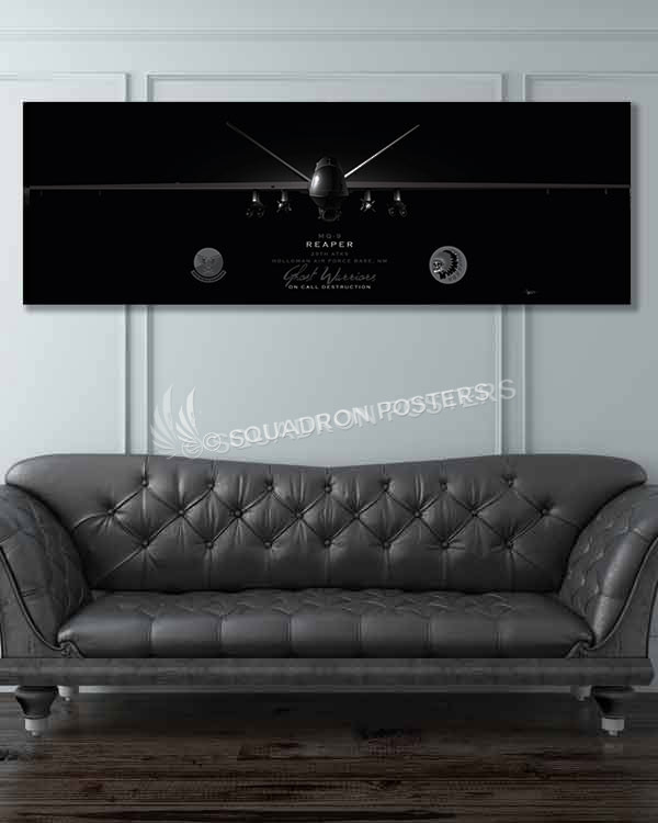 MQ-9 29th ATKS Jet Black Super Wide Canvas Print