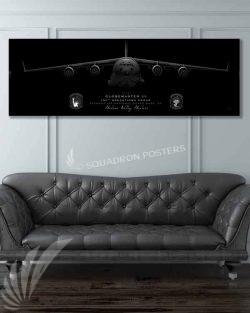 C-17 105th OG Jet Black Super Wide Canvas Print Jet_Black_Stewart_ANGB_C-17_105th_OG_60x20_SP01394-military-air-force-aviation-artwork-poster-jet-black-litho