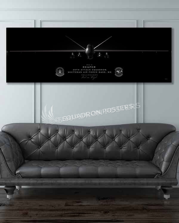 Whiteman AFB 20th ATKS MQ-9 Jet Black Super Wide Canvas Print