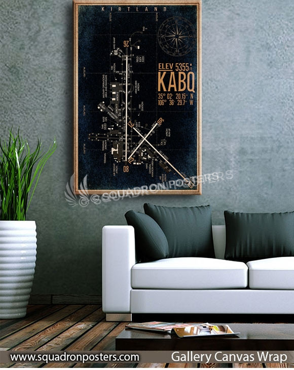 KABQ_Kirtland_AFB_airfield_map_poster_SP00889_squadron-posters-vintage-canvas-wrap-aviation-prints