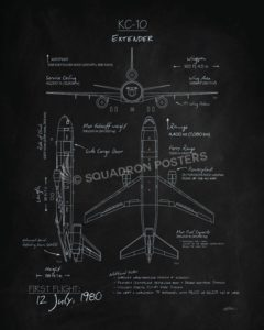 KC-10 Extender Blackboard Art KC-10_Extender_Blackboard_v2_SP01254-featured-aircraft-lithograph-vintage-airplane-poster-art