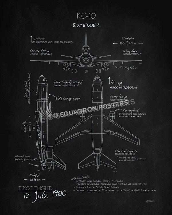 KC-10 Extender Blackboard Art KC-10_Extender_Blackboard_v2_SP01254-featured-aircraft-lithograph-vintage-airplane-poster-art