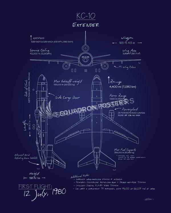 Kc 10 Extender Blueprint Art Squadron Posters