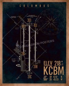 Columbus AFB KCBM Airfield Map Art kcbm_columbus_afb_airfield_art_sp01201-featured-aircraft-lithograph-vintage-airplane-poster-art