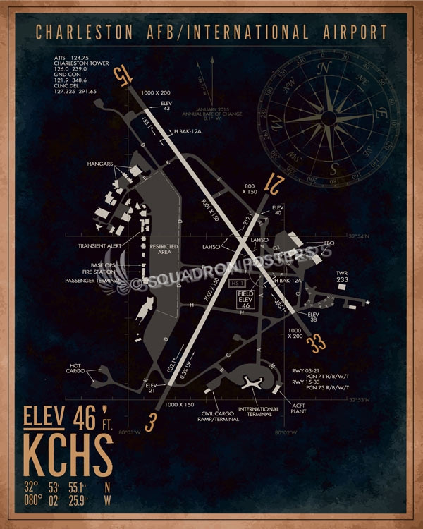 Charleston AFB KCHS Airfield Map Art – Squadron Posters on