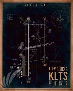 Altus AFB KLTS Airfield Map Art KLTS_Altus_AFB_Airfield_Art_SP01363-featured-aircraft-lithograph-vintage-airplane-poster-art
