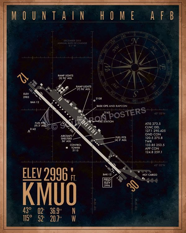 Mountain Home AFB KMUO Airfield Map Art KMUO_Mountain_Home_AFB_R3_SP01308-featured-aircraft-lithograph-vintage-airplane-poster-art