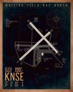 NAS Whiting Field - North KNSE Airfield Map Art KNSE_Whiting_NAS_North_Airfield_Art_SP01450-featured-aircraft-lithograph-vintage-airplane-poster-art