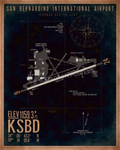 San Bernardino International Airport KSBD Airfield Map Art KSBD_San_Bernardino_Intl_Airfield_Art_SP01422-featured-aircraft-lithograph-vintage-airplane-poster-art