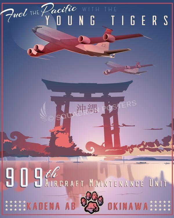 Kadena AB 909th Aircraft Maintenance Unit Kadena_AB_KC-135_909th_AMU_SP01377-featured-aircraft-lithograph-vintage-airplane-poster-art