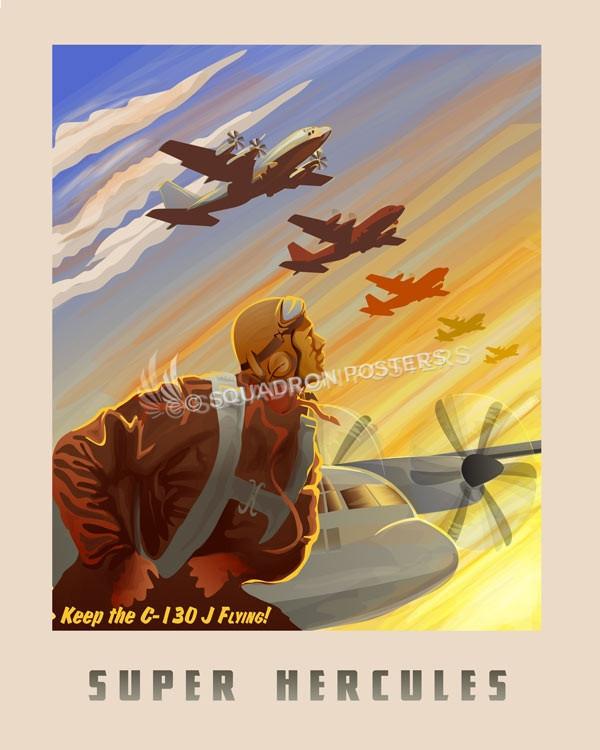 Keep C-130J Flying SP00676 feature-vintage-print