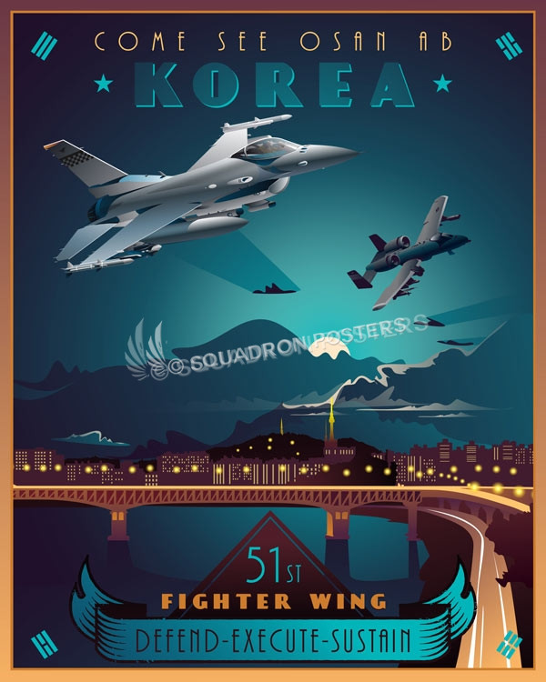 Osan Ab Korea 51st Fighter Wing Squadron Posters