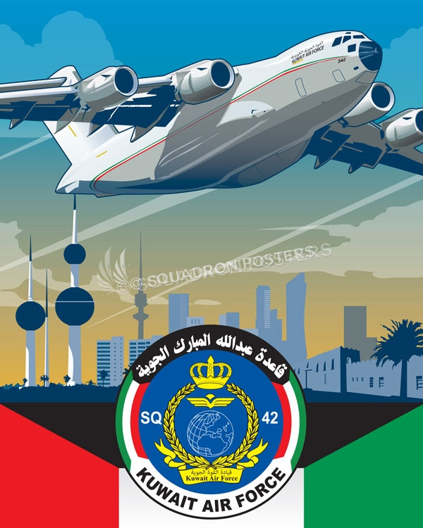 Abdul Al Mubarak Air Base, Squadron 42 C-17 Kuwait_C-17_Air_Force_SP01233-featured-aircraft-lithograph-vintage-airplane-poster-art