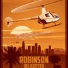 Robinson Helicopter Company L.A. SP00739 featured-aircraft-lithograph-vintage--poster-art