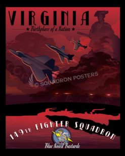 lJoint Base Langley–Eustis 149th Fighter Squadron angley_afb_f-22_149th_fs_sp01173-featured-aircraft-lithograph-vintage-airplane-poster-art