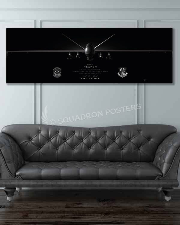 MQ-9 2 SOS Jet Black Super Wide Canvas Print Las_Vegas_MQ-9_2d_SOS_60x20_SP01467-military-air-force-aviation-artwork-poster-jet-black-litho