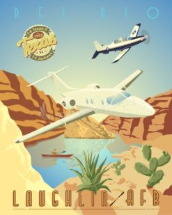Laughlin AFB T-1 Laughlin_DUO_T-6_T-1_SP00941-featured-aircraft-lithograph-vintage-airplane-poster-art