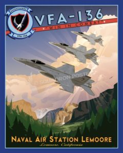 NAS Lemoore VFA-136 - F-18 Lemoore_CA_VFA136_FA18_Knighthawks_R1_SP01312-featured-aircraft-lithograph-vintage-airplane-poster-art