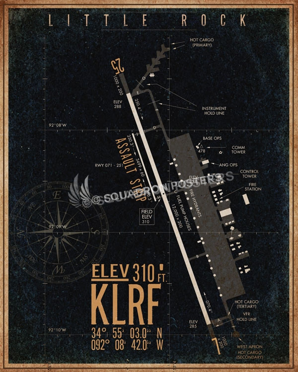 Little_Rock_KLRF_airfield_map-SP00896-featured-aircraft-lithograph-vintage-airplane-poster-art
