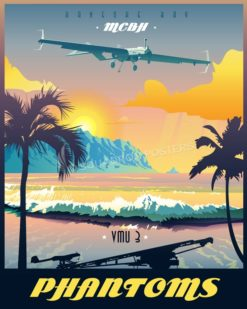 Marine Corps Base Hawaii VMU-3 MCB_Hawaii_K-Bay_RQ-7B_VMU-3_v2_SP01409-featured-aircraft-lithograph-vintage-airplane-poster-art