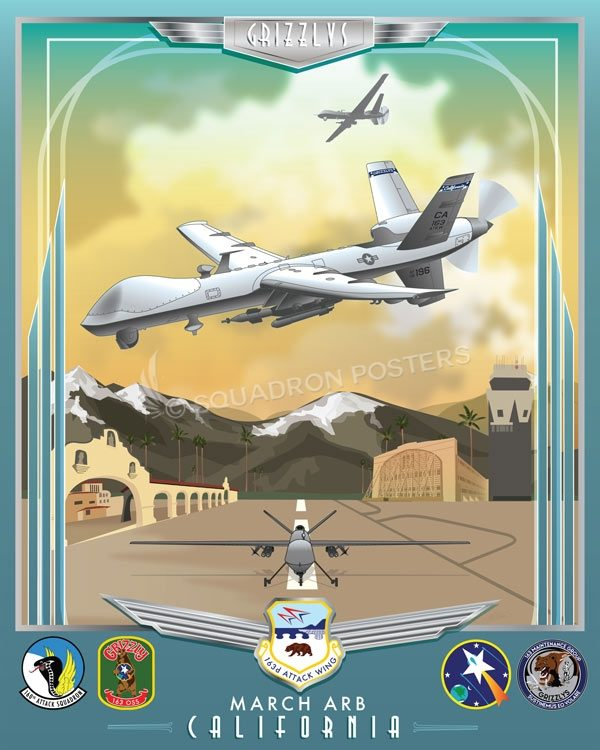 March Air Reserve Base 163 ATKW MQ-9 Reaper March_ARB_MQ-9_163_ATKW_SP01282-featured-aircraft-lithograph-vintage-airplane-poster-art