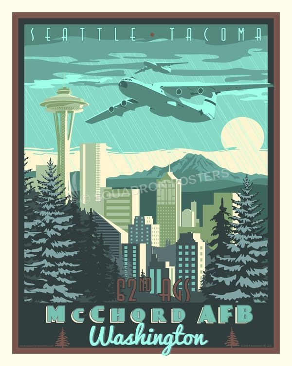 McChord Field, Washington 62nd AGS C-141 McChord_AFB_C-141_62nd_AGS_SP01418-featured-aircraft-lithograph-vintage-airplane-poster-art